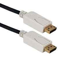 QVS DisplayPort Male to DisplayPort Male UltraHD Cable w/ White Connectors and Latches 6 ft. - Black