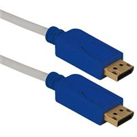 QVS DisplayPort Male to DisplayPort Male UltraHD Cable w/ Blue Connectors and Latches 10 ft. - White