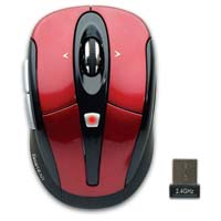 Gear Head Optical Wireless Mouse - Red