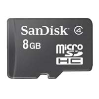 SanDisk 8GB microSDHC Class 4 Flash Memory Card with Adapter