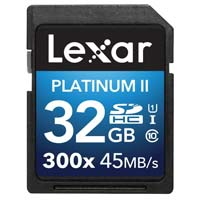 Lexar Media 32GB Platinum II UHS-I 300x SDHC Memory Card