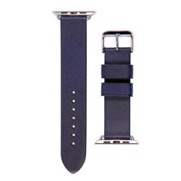 Monowear Classic Leather Band for 42mm Apple Watch with Stainless Steel Adapter - Navy