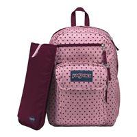 """Jansport Digital Student Backpack Fits Screens up to 15"""" - Vintage Pink Dot"""