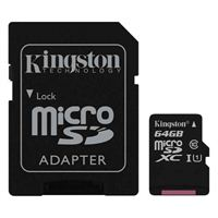 Kingston 64GB Canvas Select microSDXC Class 10 / UHS-1 Flash Memory Card with SD Adapter