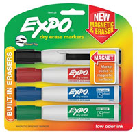 Expo Magnetic Dry Erase Chisel Marker W/ Eraser 4 Count