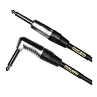 """Mogami 1/4"""" TS Male to 1/4"""" TS Right Angle Male Instrument Cable 10 ft. - Black"""