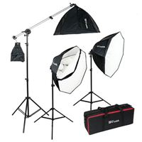 Smith-Victor OctaBella 1500 Watt 3 Light LED Softbox Kit w/ Boom Arm