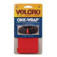 "Velcro One-Wrap Ties 6 pack 15"" x 0.5"" - Red"