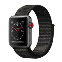 Apple Watch Series 3 GPS+Cellular 38mm Space Gray Aluminum Smartwatch - Black Sport Loop Band