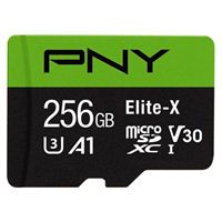 PNY 256GB Elite-X microSDXC Class 10 / UHS-3 / V30 / A1 Flash Memory Card with Adapter