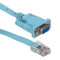 QVS RJ-45 Male to DB-9 Female Cisco Console Management Router Cable 6 ft. - Blue
