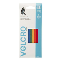 """Velcro 8"""" x 1/2"""" ONE - WRAP Ties 5 Pack - Assorted Colors"""