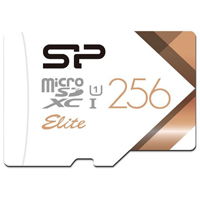 Silicon Power 256GB Elite microSDXC Class 10 / UHS-1 Memory Card with Adapter